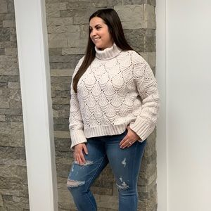 Chenille cropped eyelet sweater